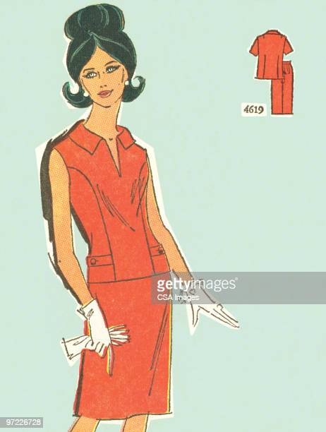 fashionable women - 20世紀点のイラスト素材/クリップアート素材/マンガ素材/アイコン素材