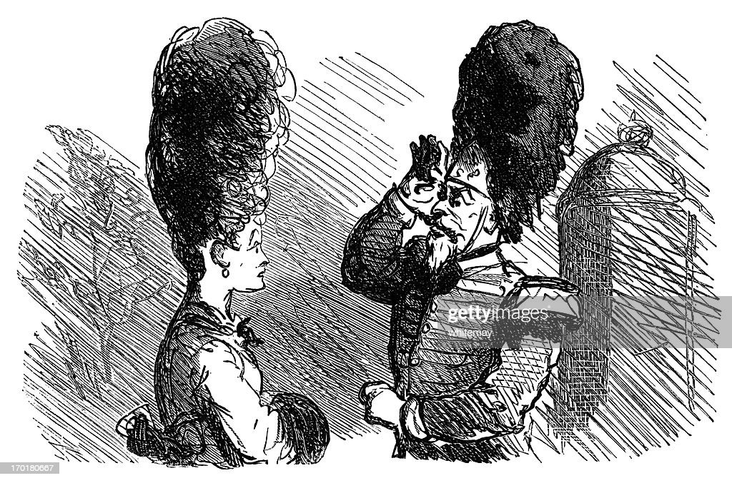 Fashionably-coiffed lady mistakenly saluted by a grenadier : stock illustration