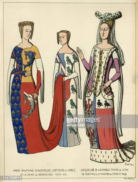 fashions middle ages, french noble women, dresses with heraldic insignia - circa 14th century stock illustrations
