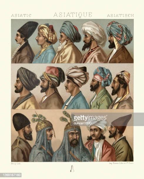 アジアのファッション、メンズヘッドウェア、ターバン、ヘッドスカーフ、ペルシャ語、インド、アフガニスタン - ペルシア文化点のイラスト素材/クリップアート素材/マンガ素材/アイコン素材