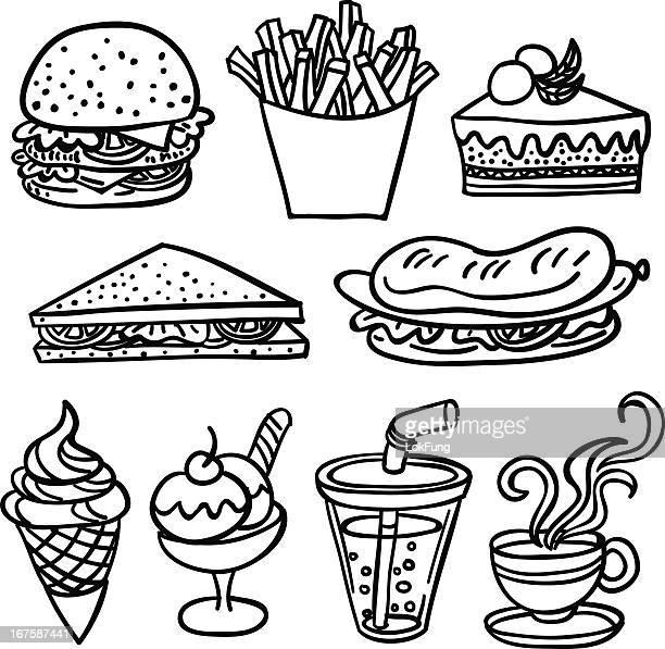 Fastfood-Sammlung in schwarz und weiß