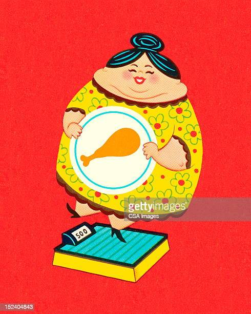 fat lady on a scale - updo stock illustrations, clip art, cartoons, & icons
