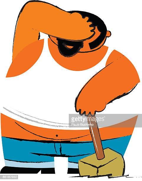 ilustrações de stock, clip art, desenhos animados e ícones de a fat man holding a sledge hammer and covering his face - buchinho