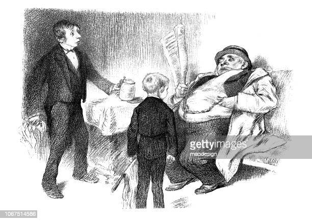 fat rich man gives a donation for two young boys - 1896 - altruism stock illustrations