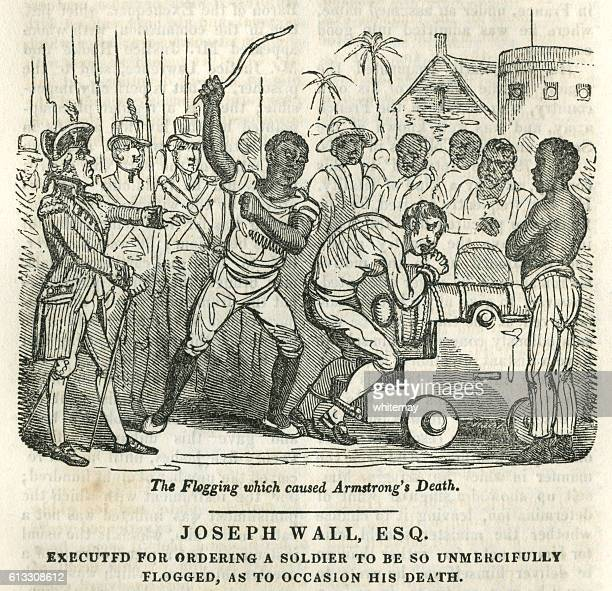 fatal flogging of a british soldier in west africa - infamous stock illustrations, clip art, cartoons, & icons