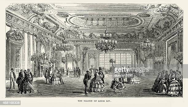 fate saloons of baden - the saloon of louis xiv - ballroom stock illustrations