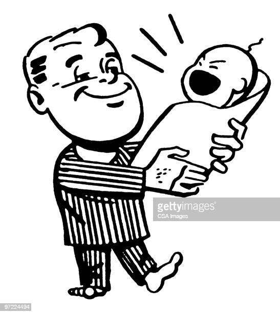 father and child - baby stock illustrations