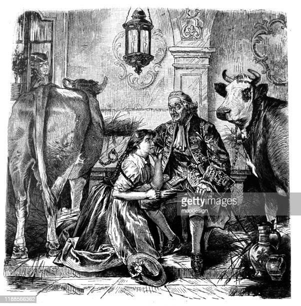 ilustrações, clipart, desenhos animados e ícones de o pai e a filha estão falando no celeiro - 1887