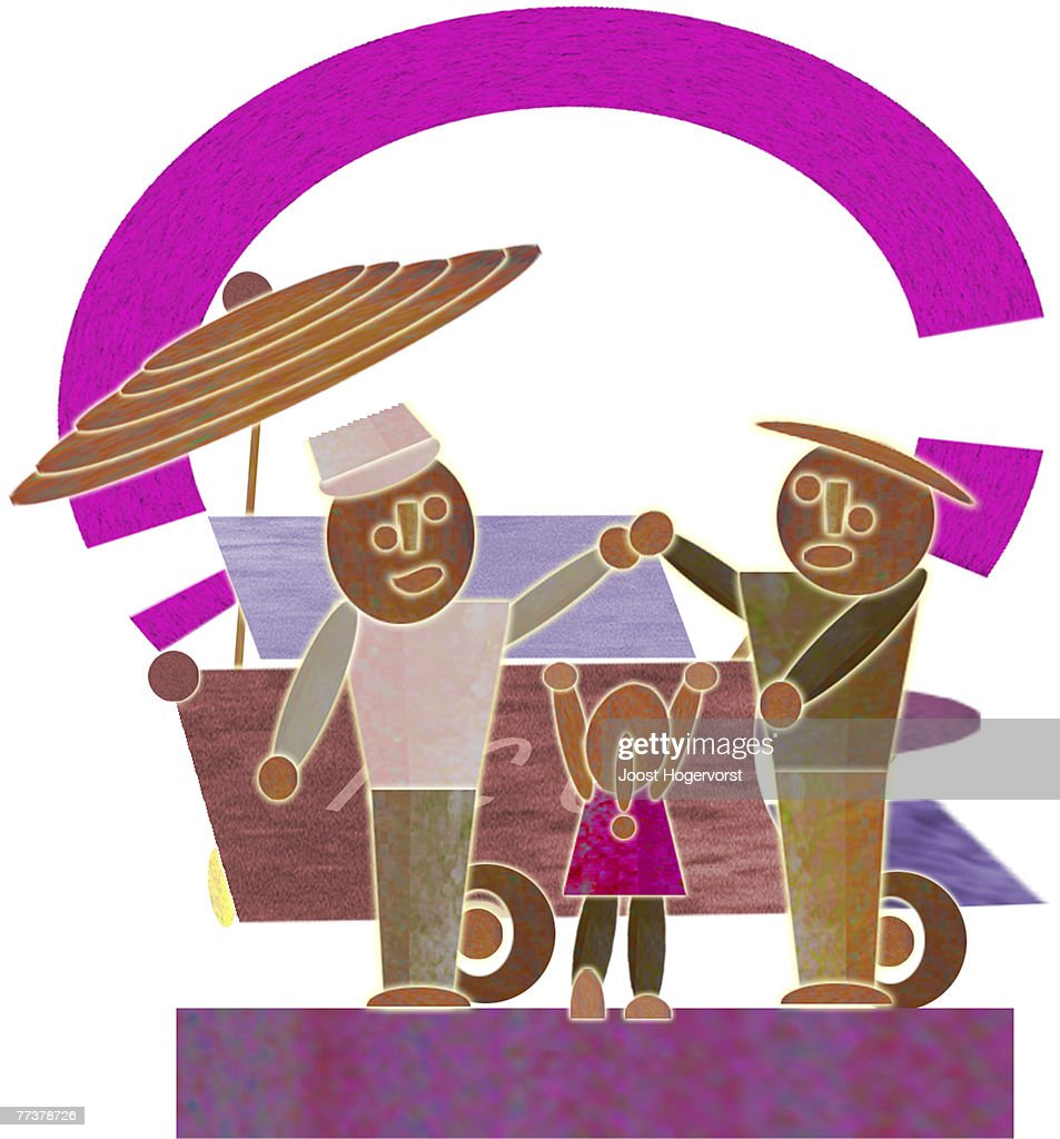 A father and daughter buying from a vendor : Stockillustraties