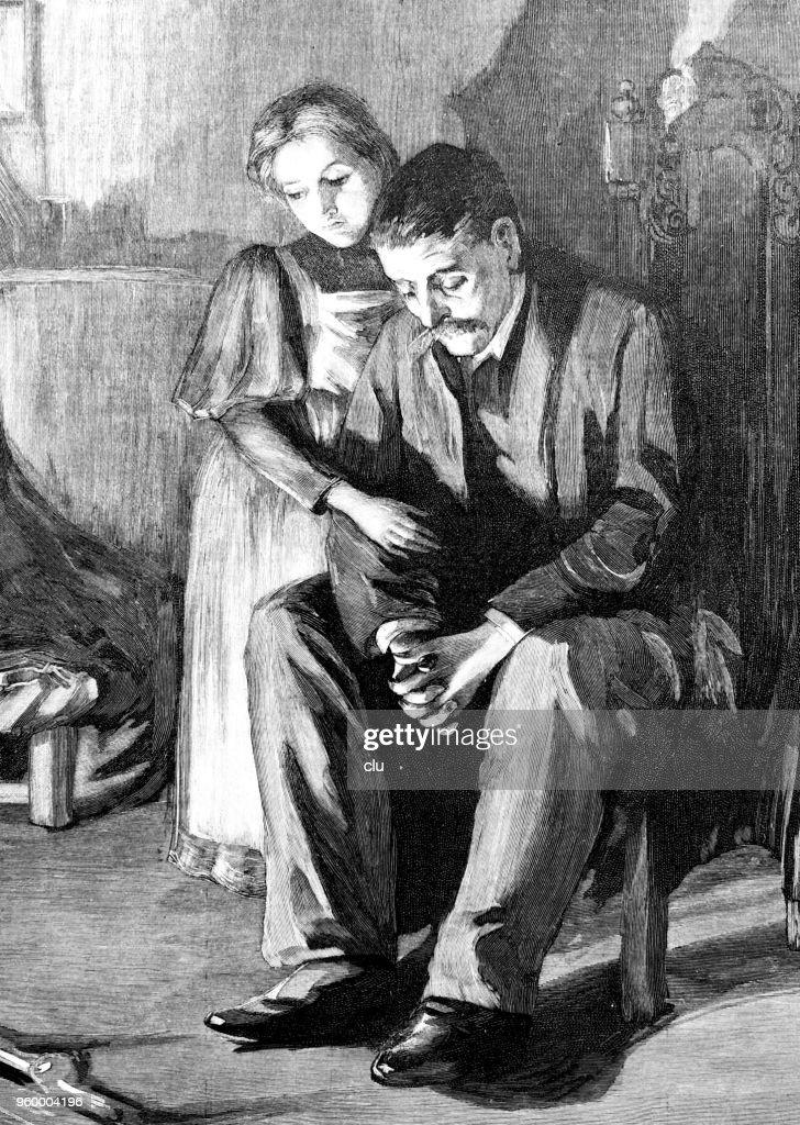 Vater und Tochter beten gemeinsam : Stock-Illustration