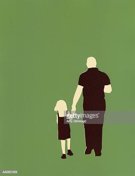 ilustraciones, imágenes clip art, dibujos animados e iconos de stock de father and daughter (4-6) walking, holding hands, rear view - hombres maduros