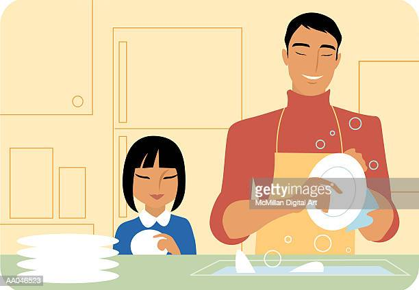 father and daughter (8-10) washing dishes - washing dishes stock illustrations, clip art, cartoons, & icons