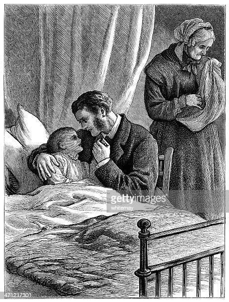 father and grandmother worrying about sick child (victorian illustration) - quilt stock illustrations, clip art, cartoons, & icons