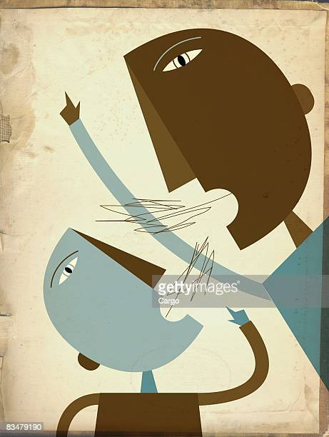 a father and son arguing - family fighting cartoon stock illustrations