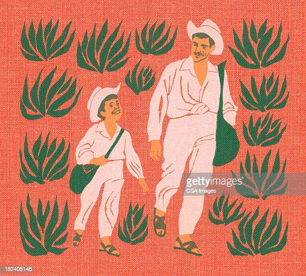 father and son walking - mexican ethnicity stock illustrations