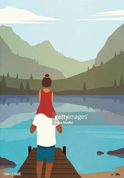 father carrying daughter on shoulders at tranquil lakeside - family stock illustrations
