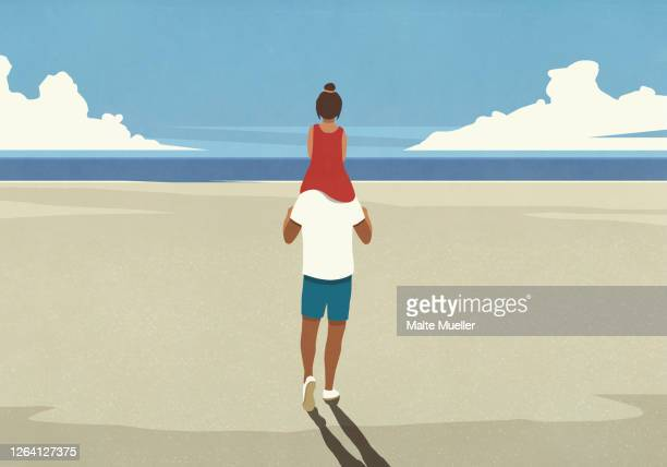 father carrying daughter on shoulders on idyllic sunny summer ocean beach - rear view stock illustrations