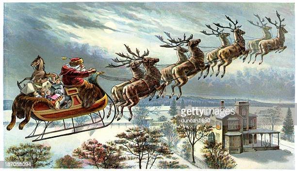 father christmas and his reindeer - retro style stock illustrations