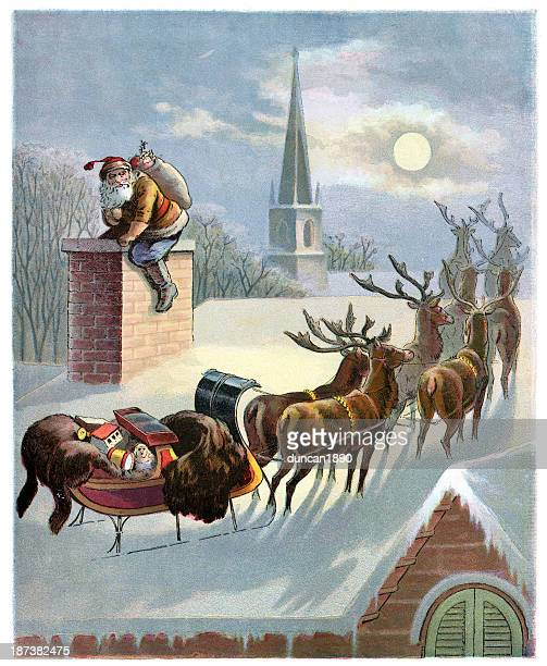 father christmas down the chimney - christmas past and christmas present stock illustrations