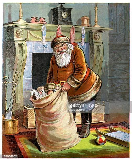 father christmas - christmas past and christmas present stock illustrations