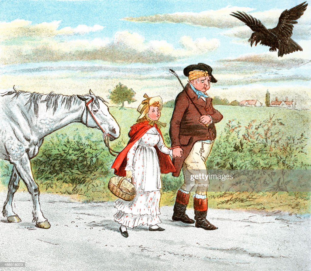 Father, daughter and horse walking home : stock illustration