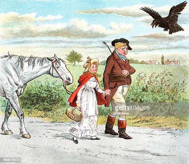 father, daughter and horse walking home - sneering stock illustrations, clip art, cartoons, & icons