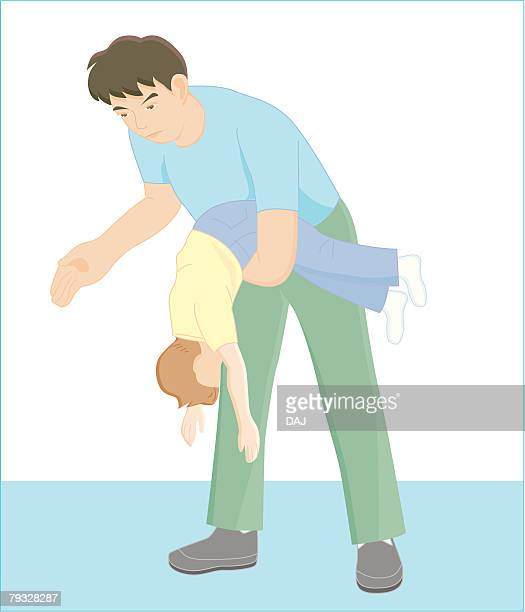 father helping son throw up foreign material, illustration - bending over stock illustrations, clip art, cartoons, & icons