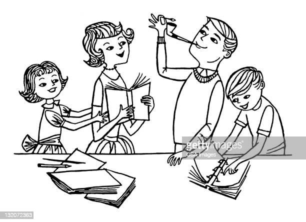 Father Lighting Pipe With Family
