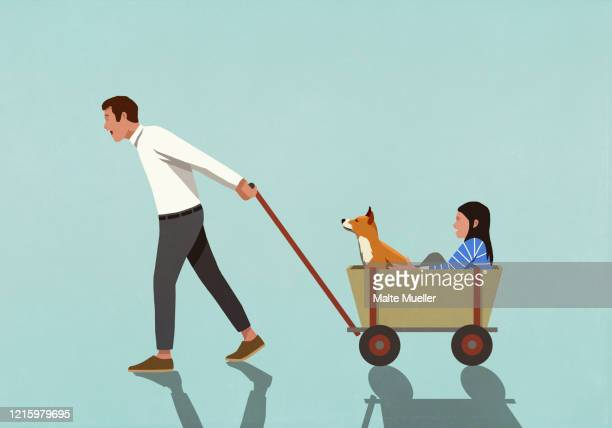 father pulling wagon with daughter and dog - {{ contactusnotification.cta }} stock illustrations
