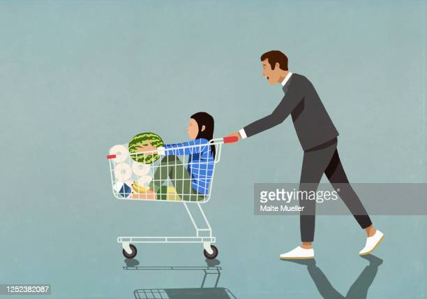 father pushing daughter and groceries in shopping cart - family stock illustrations