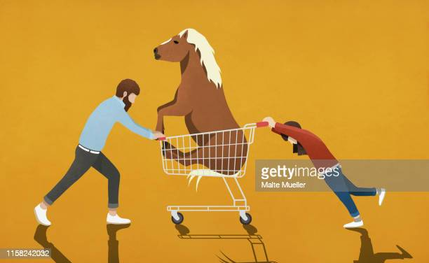 father resisting daughter pushing shopping cart with pony - consumerism stock illustrations