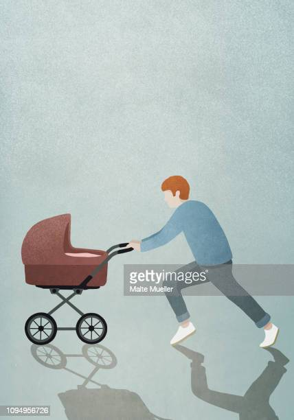 father running with baby stroller - incidental people stock illustrations