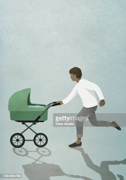 father running with baby stroller - baby stock illustrations