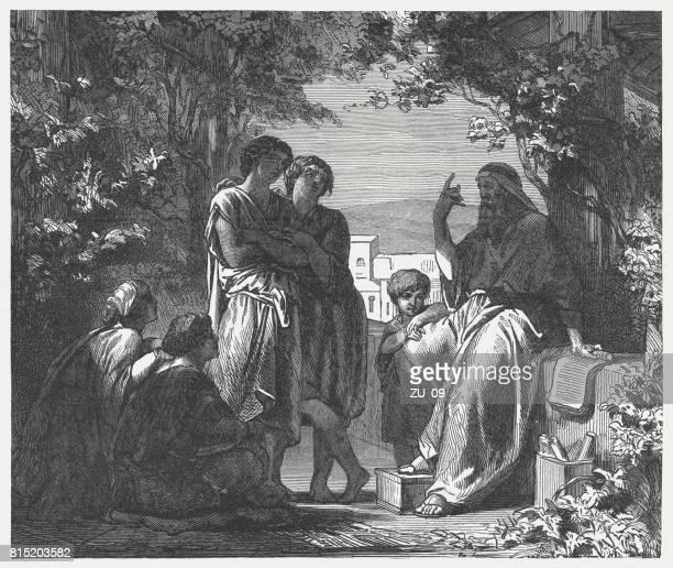 ilustrações, clipart, desenhos animados e ícones de pai ensina a que seus filhos (deuteronômio 6), gravura em madeira, publicado 1886 - bíblia