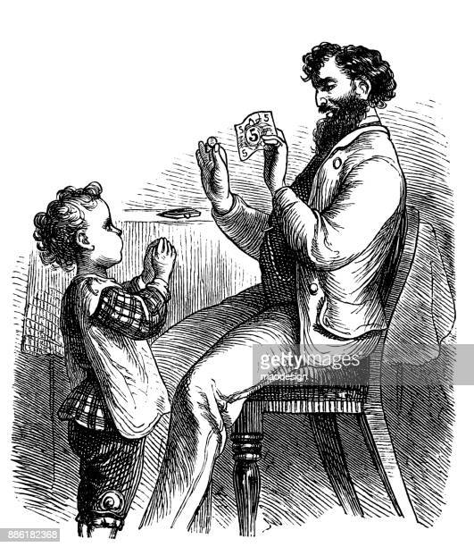 father teaches his son how the 5-dollar banknote looks like 1867 - american one dollar bill stock illustrations, clip art, cartoons, & icons