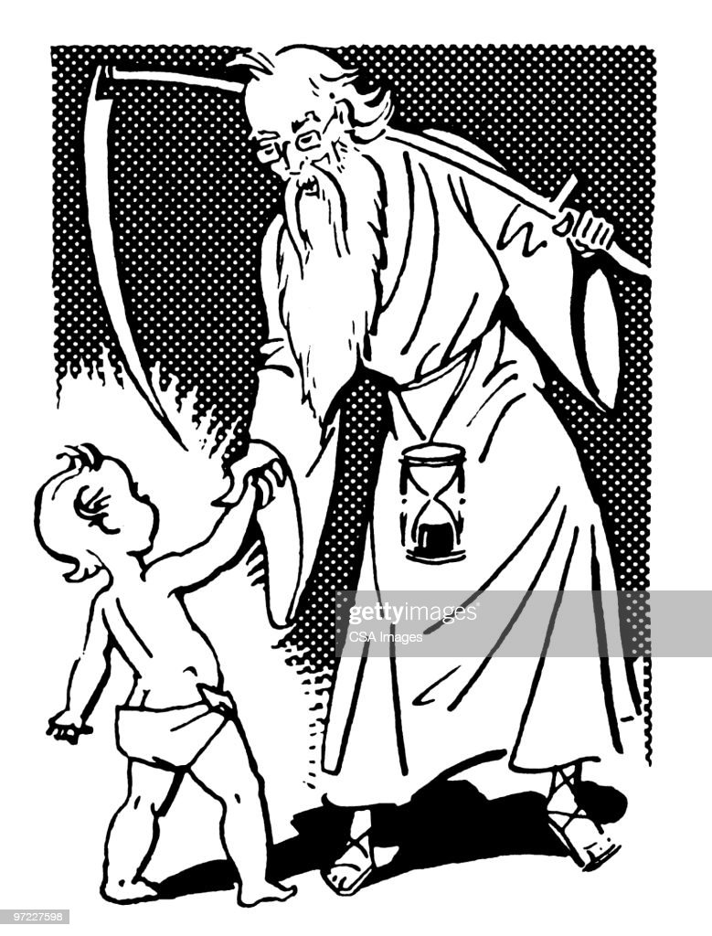 father time and baby new year stock illustration