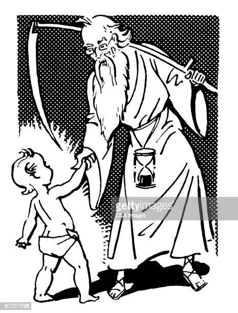 father time and baby new year - hourglass stock illustrations