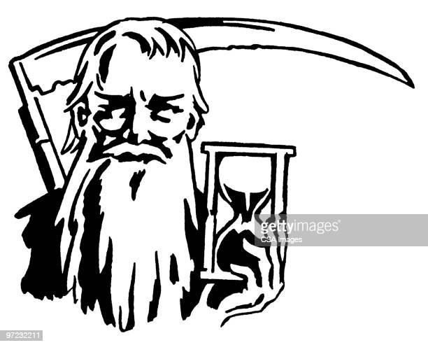 father time - hourglass stock illustrations