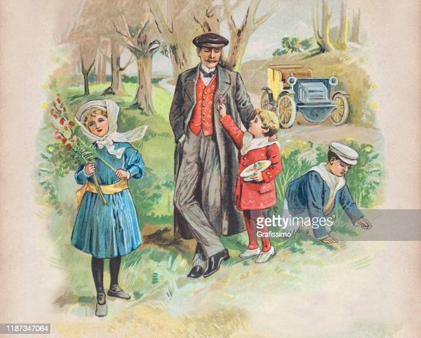 father with children driving in vintage car into forest 1900 - 1900 1909 stock illustrations