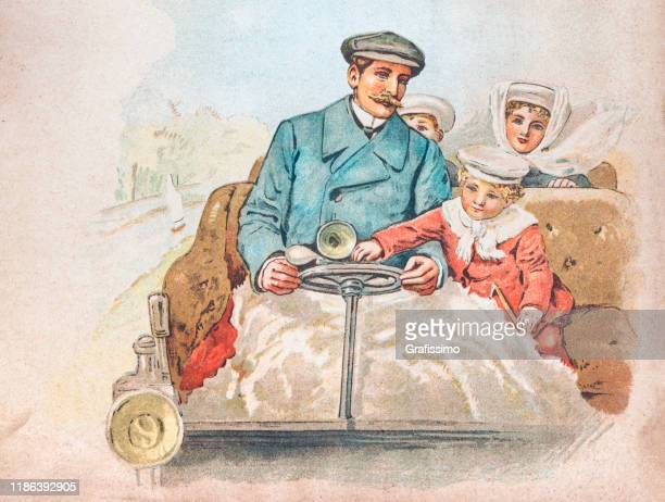 father with children driving vintage car 1900 - 1900 stock illustrations