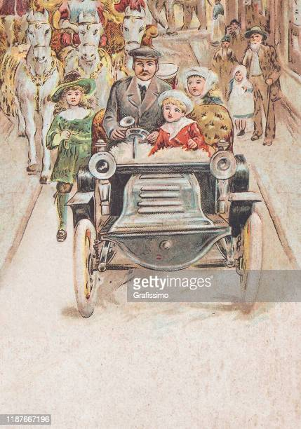 father with children driving vintage car in city 1900 - 1900 1909 stock illustrations