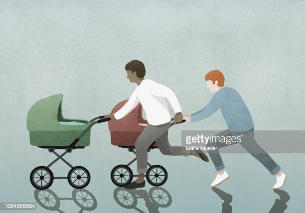 fathers racing baby strollers - 主婦業点のイラスト素材/クリップアート素材/マンガ素材/アイコン素材