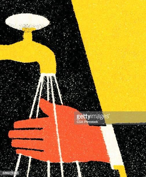 ilustrações, clipart, desenhos animados e ícones de torneira e mão - lava