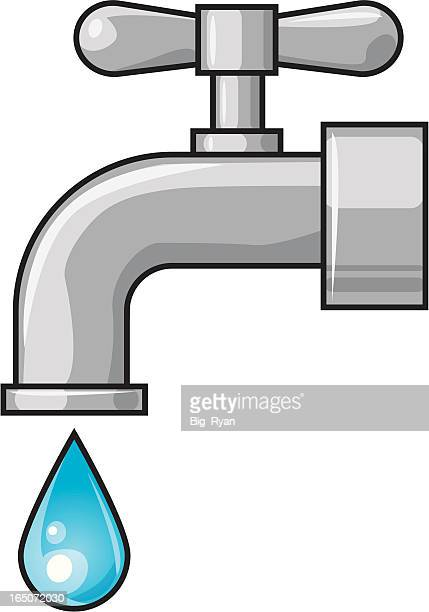faucet - water valve stock illustrations, clip art, cartoons, & icons