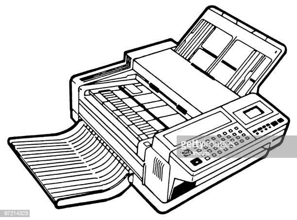 fax machine - photocopier stock illustrations, clip art, cartoons, & icons