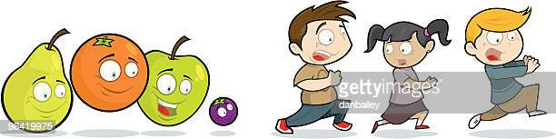 fear the fruit! - anthropomorphic foods stock illustrations, clip art, cartoons, & icons