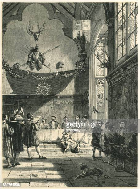 feast in a baronial hall at christmas - fool stock illustrations, clip art, cartoons, & icons