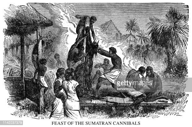 ilustrações de stock, clip art, desenhos animados e ícones de feast of the sumatran cannibals - canibalismo