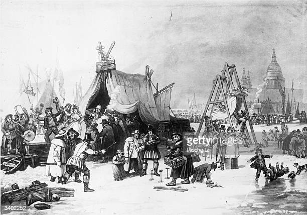 Frost Fair on the River Thames, London.