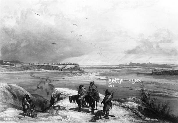 A group of Native Americans gaze across the frozen Missouri River at Fort Clark an 18th century military encampment in North Dakota Original Artwork...